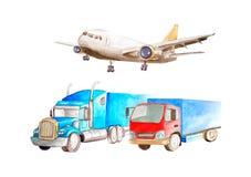 Conceito do transporte da aquarela do transporte de frete Avião e dois caminhões da baixas tonelagem e multi-tonelagem No fundo b ilustração royalty free