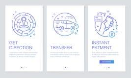 Conceito do transporte e da navegação que onboarding telas do app O procedimento moderno e simplificado da ilustração do vetor se ilustração do vetor