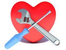 Conceito do tratamento da doença cardíaca coração, chave Fotografia de Stock