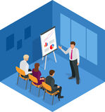 Conceito do treinamento, homem de negócio Ilustração lisa para o negócio, consultando, finança do projeto, gestão, reunião da car Fotos de Stock Royalty Free