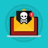 Conceito do vírus, da pirataria, do corte e da segurança Imagens de Stock