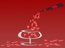 Conceito do Valentim derramando o coração da garrafa no vidro Fotografia de Stock Royalty Free