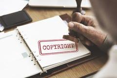Conceito do valor da marca registrada da patente da licença do projeto de Copyright fotografia de stock