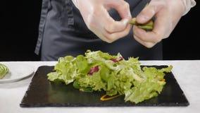 Conceito do vegetariano Alimento saudável cozinheiro chefe profissional nas luvas que adicionam fatias de abacate na alface que c vídeos de arquivo