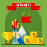 Conceito do vencedor da realização ilustração stock