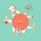 Conceito do vermelho do círculo da ciência e da educação Fotos de Stock Royalty Free