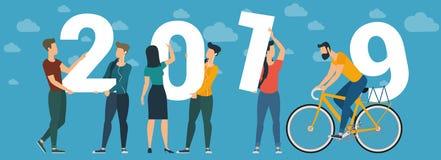 conceito do vetor do ano 2019 novo feliz ilustração royalty free