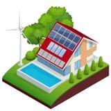 Conceito do vetor da casa verde Composição isométrica do vetor da casa pequena Fotos de Stock