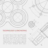 Conceito do vetor da engenharia com parte do desenho técnico da maquinaria ilustração do vetor