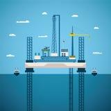 Conceito do vetor da indústria a pouca distância do mar do petróleo e gás Foto de Stock Royalty Free