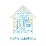 Conceito do vetor da limpeza da casa Fotos de Stock Royalty Free