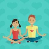 Conceito do vetor da meditação no projeto liso ilustração stock