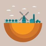 Conceito do vetor de cultivar o processo com o celeiro e o trator do moinho do jardim ilustração do vetor