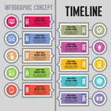 Conceito do vetor de Infographic no estilo liso do projeto - o espaço temporal & etapas - molde das bandeiras
