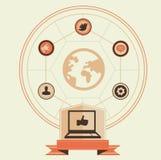 Conceito do vetor de media e do mercado sociais Imagem de Stock Royalty Free