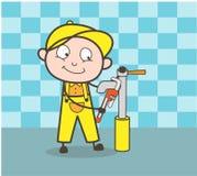 Conceito do vetor de Repairing Water Hydrant do encanador dos desenhos animados ilustração royalty free