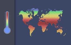 Conceito do vetor do aquecimento global Mapa global do clima do mundo Foto de Stock Royalty Free