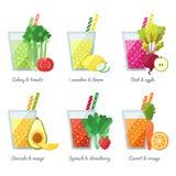 Conceito do vetor do batido das frutas e legumes (suco) Elemento do menu para o café ou o restaurante Bebida saudável ilustração royalty free