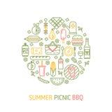 Conceito do vetor do partido do piquenique e do BBQ do verão Imagens de Stock