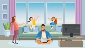 Conceito do vetor dos desenhos animados de Working do pai em casa ilustração royalty free
