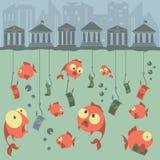 Conceito do vetor dos desenhos animados pesca finanças Riscos comerciais bancos ilustração do vetor