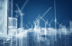 Conceito do wireframe da construção ilustração do vetor