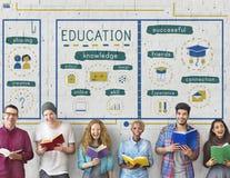 Conceito dos ícones do estudo do conhecimento da educação imagens de stock royalty free