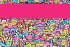Conceito dos bens imobiliários no projeto do fundo da garatuja dos desenhos animados 3d ilustração do vetor