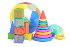 Conceito dos brinquedos das crianças, rendição 3D ilustração do vetor