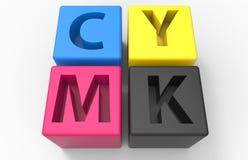 Conceito dos cubos CMYK ilustração stock