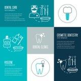 Conceito dos cuidados dentários Conceito linear moderno Projeto liso Vetor Fotografia de Stock Royalty Free
