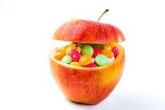 Conceito dos cuidados médicos - as maçãs estão completas das vitaminas Fotografia de Stock