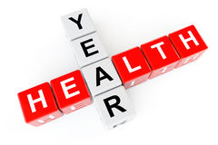 Conceito dos cuidados médicos. Cubos com sinal do ano da saúde Fotografia de Stock Royalty Free