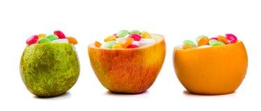 Conceito dos cuidados médicos - minério dos frutos completamente das vitaminas Fotografia de Stock Royalty Free