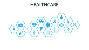 Conceito dos cuidados médicos Os hexágonos abstratos dão forma ao fundo da medicina e da ciência com ícones para médico, saúde, e ilustração do vetor
