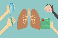 Conceito dos cuidados médicos - pulmões do tratamento Imagens de Stock Royalty Free