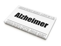 Conceito dos cuidados médicos: título de jornal Alzheimer Fotografia de Stock