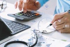 Conceito dos custos e das taxas dos cuidados médicos A mão do doutor esperto usou um Ca foto de stock