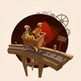Conceito dos desenhos animados da mineração ilustração stock