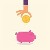 conceito dos desenhos animados da moeda do porco Imagem de Stock