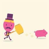 Conceito dos desenhos animados do homem de negócios Fotos de Stock Royalty Free