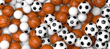 Conceito dos esportes Bolas do basquetebol, do voleibol e de futebol, bandeira ilustração 3D imagens de stock