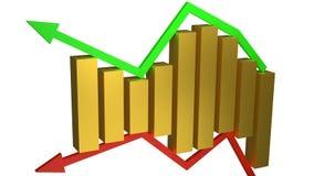 Conceito dos ganhos e das perdas do negócio representados pelas barras de ouro que sentam-se entre as setas verdes e vermelhas is imagem de stock royalty free