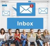 Conceito dos gráficos de uma comunicação eletrônica de Inbox do email imagem de stock royalty free
