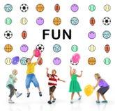 Conceito dos gráficos do esporte da bola de jogos das crianças Fotografia de Stock Royalty Free