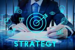 Conceito dos gráficos do objetivo de missão do alvo da estratégia Foto de Stock