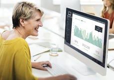 Conceito dos gráficos do painel das vendas do mercado do cliente imagens de stock