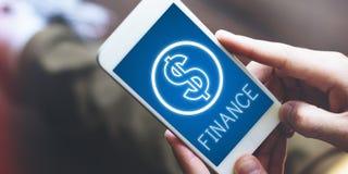 Conceito dos gráficos dos ícones do dinheiro do dinheiro do investimento da finança Foto de Stock