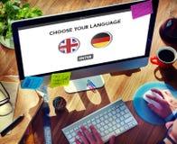 Conceito dos inglês-alemão do dicionário de língua Imagem de Stock Royalty Free