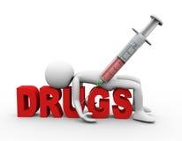 conceito dos narcóticos e das drogas da seringa do homem 3d Fotos de Stock